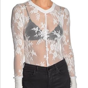 Free People Lace Knit Long Sleeve Layering Top S